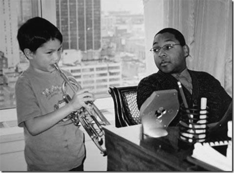 Harrison Swalley (left) and Wynton Marsalis in New York City, 2001.
