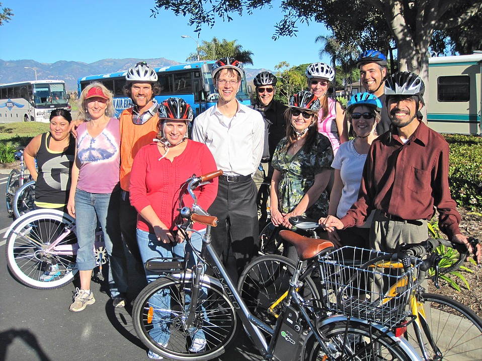 "City of Goleta staffers after a Street Skills class. The City of Goleta purchased a fleet of bicycles, and MaryJo Alonzo, who is promoting employees' use of bikes for short errands and exercise, said the class was ""informative and fun! The City will offer it again in the future."""
