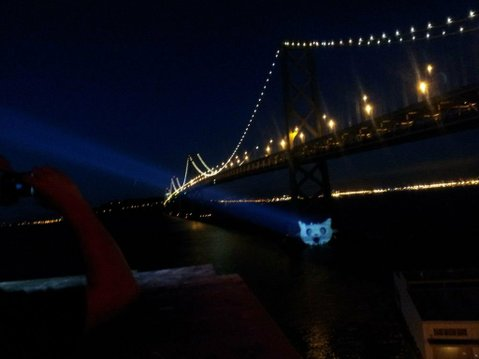 "'Cat Signal' projected on the Bay Bridge from Mozilla's headquarters. <a href=""https://twitter.com/EFF/status/226167369486196736"">@EFF</a>"