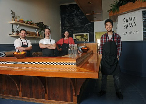 Sama Sama chefs/co-owners (l to r) Ricardo Aguilar, Kevin Hoover, Tyler Peer, and Ryan Simorangkir.