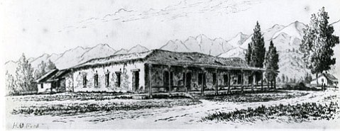 Built in the 1830s, the Aguirre adobe (represented in this 19th-century illustration by Henry Chapman Ford) was one of the most impressive homes in Santa Barbara.