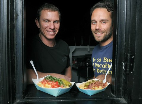 From left, Damian Gover and Marcos Huston serve their mac at Velvet Jones.
