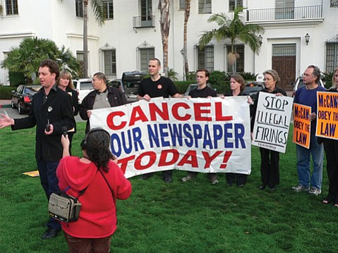 FROM LEFT:  Tom Schultz, Dawn Hobbs, Teamsters organizer George Perez, Barney McManigal, Rob Kuznia, Anna Davison, Melinda Burns, John Zant, and Melissa Evans rally for the right to organize the Santa Barbara <i>News-Press</i> newsroom.