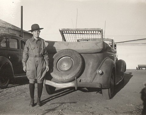Pete Langlo in 1943, collecting scrap iron for the war effort.