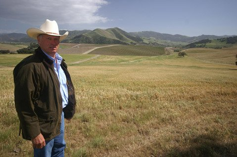 Blair Pence stood in front of his vineyard, which sits just east of the Sta. Rita Hills appellation.