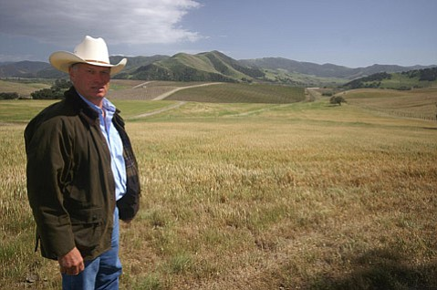 Blair Pence stands in front of his vineyard, which sits just east of the Sta. Rita Hills appellation.