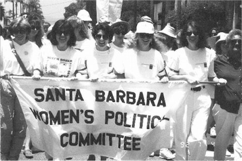 Santa Barbara Women's Political Committee on the march, back in the day.