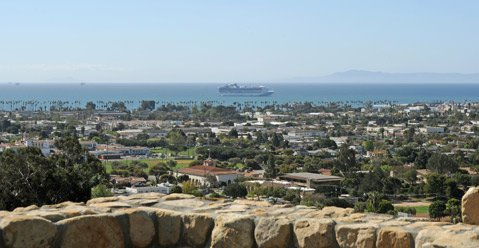 <b>A VIEW FROM THE TOP:</b>  The newly completed Scranton Overlook boasts new bathrooms, concession stands, and seats for the Santa Barbara Bowl's top-tier ticketholders.