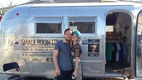 Travis and Lauren Hardy operate their Small Room Collective pop-up out of an Airstream Globetrotter.