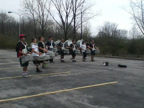 Rehearsing for the Winter Guard International's Percussion World Championships.