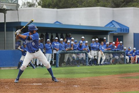 UCSB freshman Robby Nesovic (6) coils in the batter's box against Sacramento State.