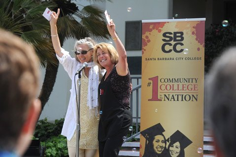 "<b>WE'RE NUMBER ONE!</b>  SBCC President Lori Gaskin (right) and Dean Alice Scharper sung a modified version of The Beach Boys' ""Be True to Your School"" at a campus celebration of the Aspen Prize victory."