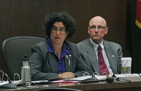 <b>HOLDING THE BAG:</b>  Mayor Helene Schneider and Councilmember Grant House expressed vexation that past promises to widen the railroad bridge crossing Cabrillo Boulevard have not been kept.