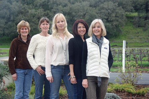<b>DOUBLE DUTIES:</b> From left, Denise Shurtleff, Helen Falcone, Tessa Marie Parker, Clarissa Nagy, and Brooke Carhartt are all proud of both their children and their wine.