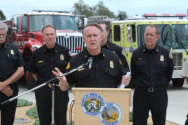 Santa Barbara County Fire Chief Michael Dyer addresses the media at the annual fire season briefing