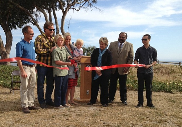 Ribbon cutting celebration for new fence at Walter Capps Park in Isla Vista