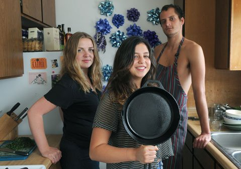 <b>I.V. CUISINE:</b> Who needs a big, fancy kitchen? Not Karla Subero (center) and her team, Catherine LaGaly and Jo Pausic.