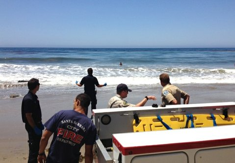Emergency personnel try to talk the suicidal woman out of the water