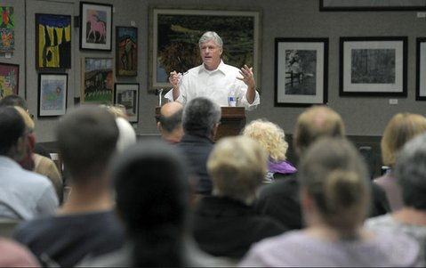 """<b>BAD COMBO:</b>  """"All it takes is a drug and the right brain chemistry,"""" said Dr. Chris Flynn at  a forum on prescription-drug abuse Tuesday night. """"You put those two together, and you have an addiction."""""""