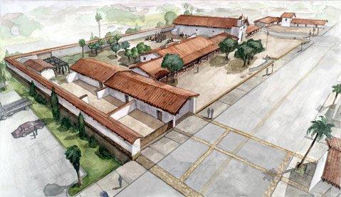 <b>PRESIDIO-TO-BE:</b>  Reconstruction continues on El Presidio's northwest corner.