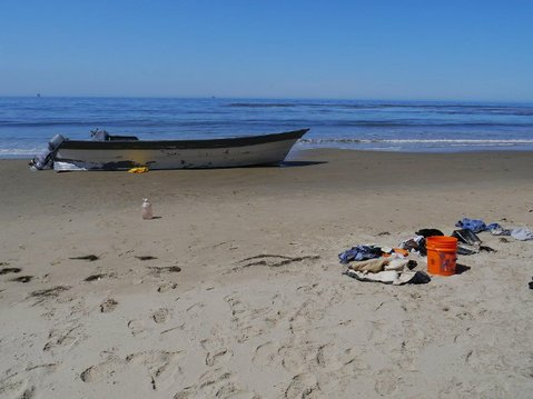Abandoned panga recovered on Arroyo Quemada Beach