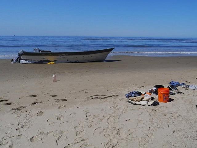 Abandoned panga recovered on Arroyo Quemada Beach