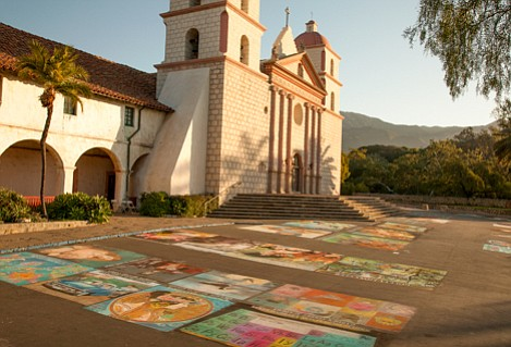 Early Tuesday morning in 2012 with completed chalk art in the foreground.