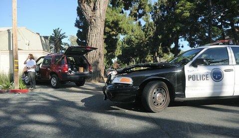 A police vehicle involved in an accident at the intersection of Del la Vina and De la Guerra Streets (June 5, 2013)