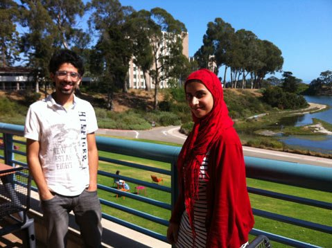 Ahmad and Maya in front of the UCSB lagoon.