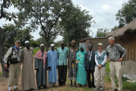 Chad Relief Foundation team with council of elders. The Chad Relief Foundation works with refugees from the Central African Republic in South Chad.