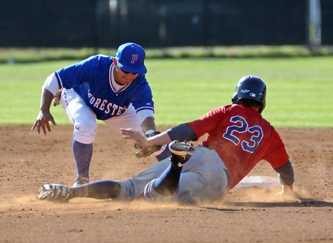 <b>YOU'RE OUT!</b> S.B. Forester Steven Reveles (left) tags out Connor O'Hare in a June 4 game against the North County Indians.