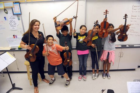 <b>ADVANCED GROUP LESSON:</b> (from left) Teaching Artist Sabrina Cabral instructs Raul Salgado (4th grade), Isaias Pineda (5th), Jeanette Mazantini (5th), Lizeth Melendez (5th), and Leslie Bernardino (4th).