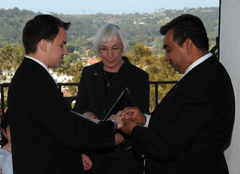 <b>FIVE MONTHS IN 2008:</b>  When gay marriage was legal in California, then-mayor Marty Blum officiated at lots of weddings, including that of Andy and Manny Edgar-Beltran.
