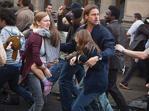 <b>OVERKILL:</b>  A former U.N. employee attempts to save his family (and the rest of mankind) from a worldwide zombie outbreak in the big-budget B-movie World War Z.