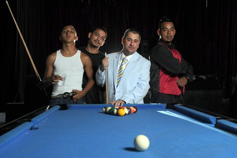 "<b>805 HIP-HOP HEROES:</b> Former deejay and longtime music producer Damion ""Damizza"" Young (in blue) is cultivating Santa Barbara's own rap talent, including Fresh (in red vest), Lil Bams (white tank top), and Kidd (black shirt)."