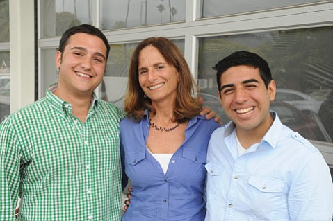 "<b>THE LONG ROAD AHEAD:</b>  Therapist Jennifer Freed, pictured with friends Ben Zimmer (left) and Justin Valadez, has heard from numerous students that teachers routinely allow words like ""faggot,"" ""gay,"" and ""dyke"" to be used in vicious ways during school."
