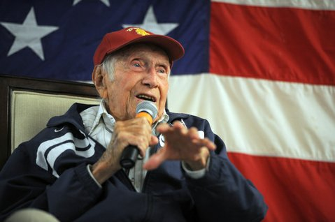 Louis Zamperini at a Boys & Girls Club fundraiser at Earl Warren Showgrounds