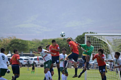"<b>HEAD SHOTS: </b> Santa Barbara Soccer Club's Boys U15 earned the title at the Far West Regional championships in Honolulu, Hawaii, last month. The team beat out 13 opponents from eight states. It was the second year in a row U15 came in first in the competition. S.B. players included (from left, in red) Eric Contreras, Juan Pablo Alvarez, Cason Vom Steeg, Edward ""Lalo"" Delgado (goalie in green), and Francisco Arroyo."
