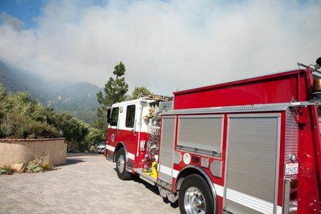 Engine crew stationed along Spyglass Ridge Road during the Jesusita Fire.