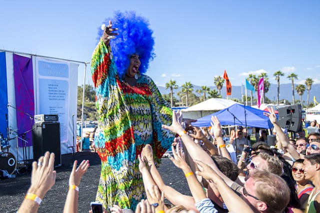 Latrice Royale, a drag queen and RuPaul's Drag Race season four contestant performs at the Santa Barbara Pacific Pride Festival July 13, 2013, at Leadbetter Beach in Santa Barbara, Calif.