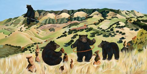 "<b>PARTY IN THE WOODS:</b>  Carol Paulsen's exuberant ""Bear Liberation Party"" is one of the works on display in the group show now at MichaelKate."