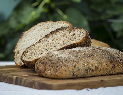Loaves baked by Santa Barbara Sourdough's Stephen Meyer at Goodland Kitchen