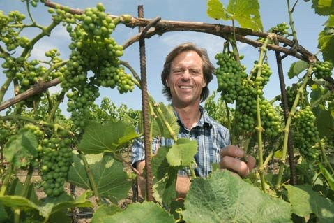 "<b>BRILLIANT OR NUTS? </b>After three decades watching grapes grow in the Sta. Rita Hills, Bryan Babcock (above) is unleashing a new vine trellising system that he says is already saving him 30 percent in labor costs. ""I'm using wind and gravity to sculpt the canopy,"" he said. ""Some people think I've gone totally crazy."""