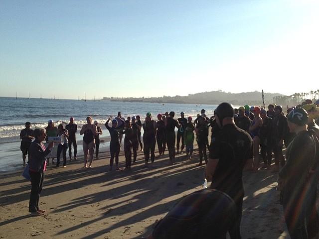 Senator Hannah-Beth Jackson addresses participants during Santa Barbara's first Swimmable California Day