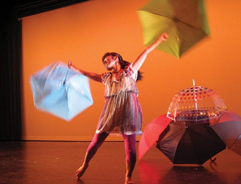"<b>RAIN DANCER: </b>Anri Nakano performs her solo, ""Just Be Imaginative."""