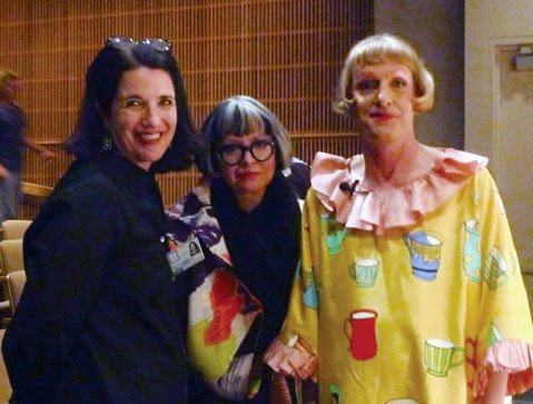 <b>DISTINGUISHED VISITORS:</b>  SBMA Curator Julie Joyce (left) welcomed Philippa and Grayson Perry for his lecture in connection with the exhibition <i>Labour and Wait</i>.
