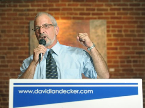 Former City Councilmemeber David Landecker announces his bid to run again for office. Supporters on-hand included current mayor Helene Schneider and former mayor Marty Blum (July 6, 2013)