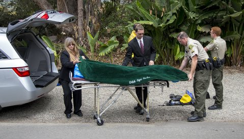The body of William Grgurich is picked up by the Santa Barbara Coroner's Office