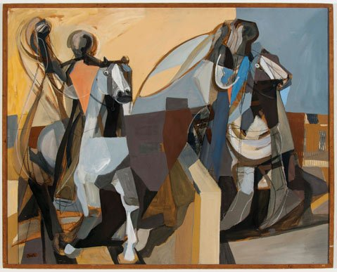 "ABSTRACT RODEO: Channing Peake's ""Team Ropers"" (1957) shows the painter employing cubist techniques to a classic Western subject."
