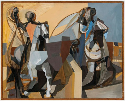 """ABSTRACT RODEO: Channing Peake's """"Team Ropers"""" (1957) shows the painter employing cubist techniques to a classic Western subject."""